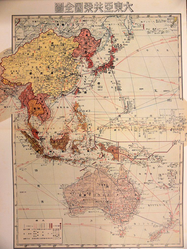 当時の「大東亜共栄圏」地図